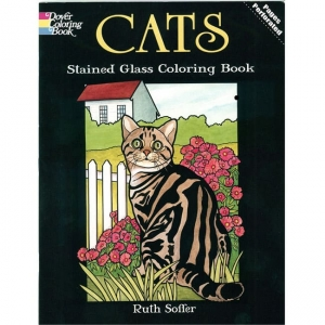 CATS STAINED GLASS COLORING BOOK-0