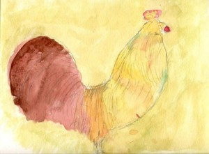 Rooster Ten Morning - A painting by a participant in the Memories in the Making program