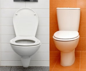 Alzheimer's safety | A white toilet against a white wall is harder to see than a white toilet against a bright orange wall.