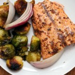 Maple and Mustard-Glazed Salmon with Roasted Brussels Sprouts