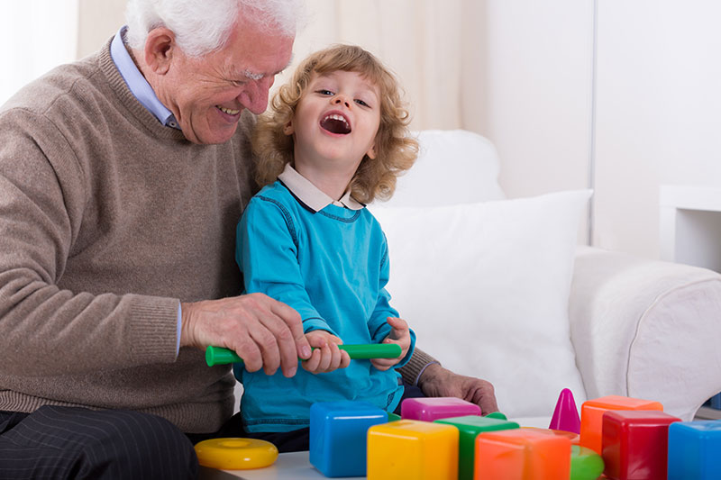 Toys for people with Alzheimer's | Man and child playing together