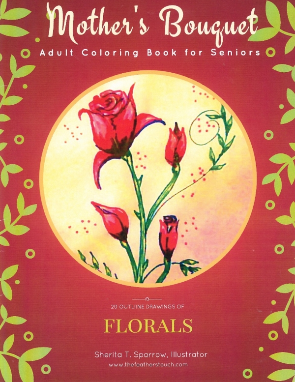 MOTHER'S BOUQUET - ADULT COLORING BOOK FOR SENIORS-0