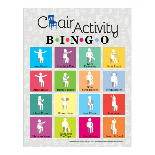 The Chair Activity Bingo Game features seated stretches and simple movements that must be completed in order to mark your game card. Perfect for use with older adults or anyone with limited mobility.
