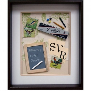 Yesterday's Windows - School | Memorabilia themed shadowboxes to inspire reminiscing in Alzheimer's patients.
