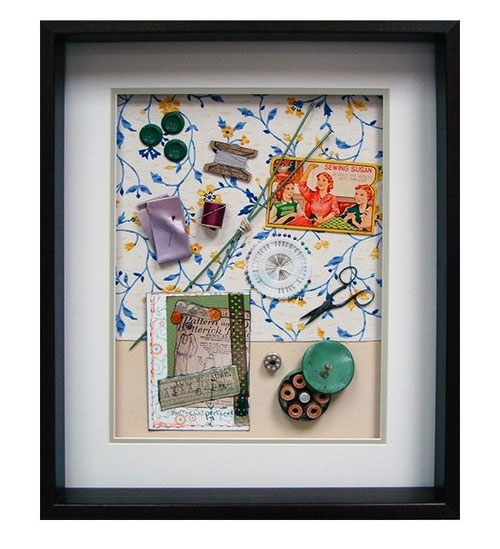 Yesterday's Windows - Sewing | Memorabilia themed shadowboxes to inspire reminiscing in Alzheimer's patients.
