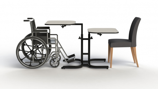 The Butterfly tables are designed for multiple applications where different tables heights are needed, specifically for individuals in wheelchairs. They will be able to enjoy a meal without any inconvenience to others.