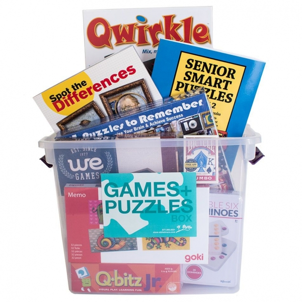 Games and Puzzles Box - a collection of appropriate games and puzzles for people with Alzheimer's and related dementia
