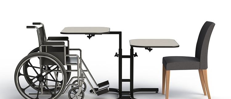 Tables and chairs that adapt to different physical limitations